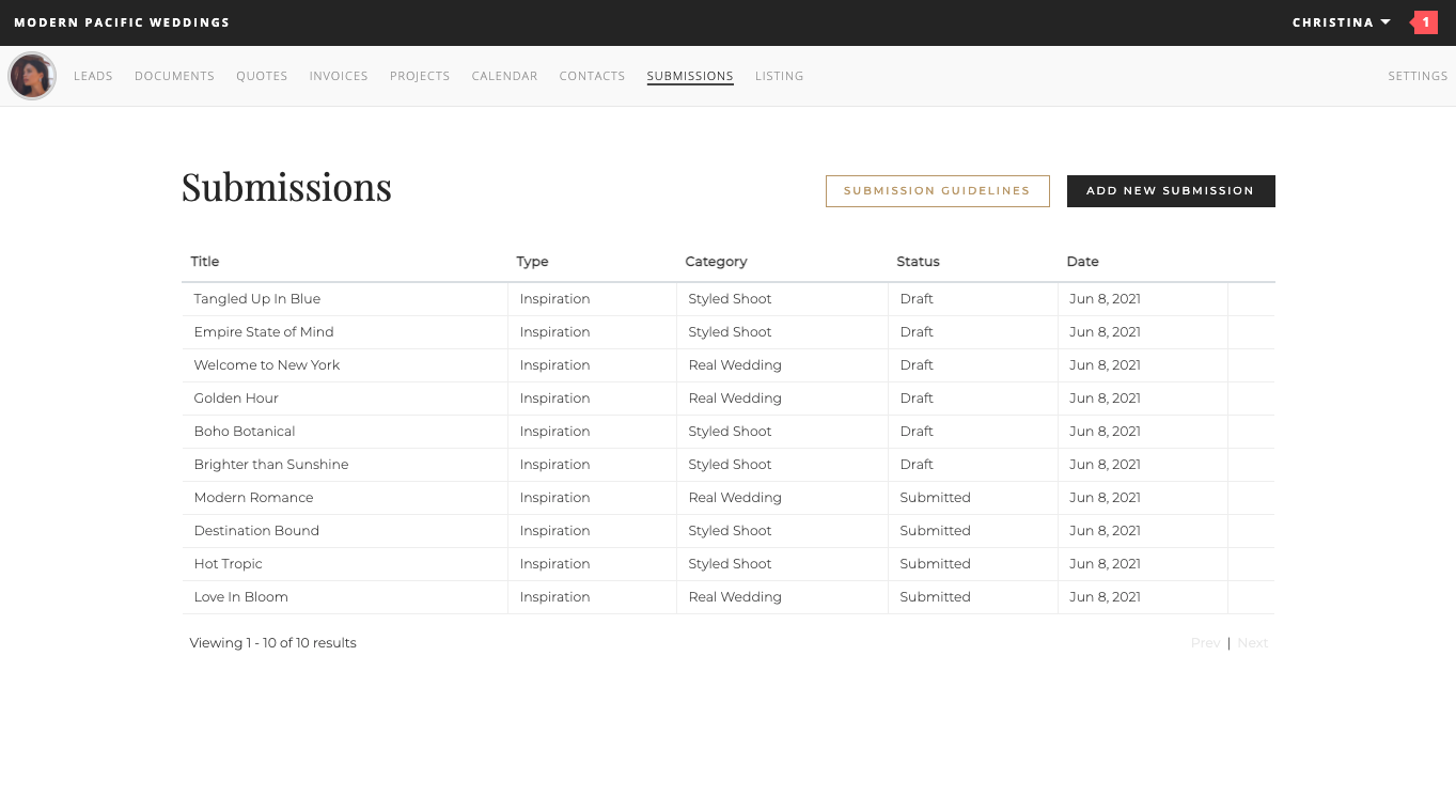 Submissions Dashboard